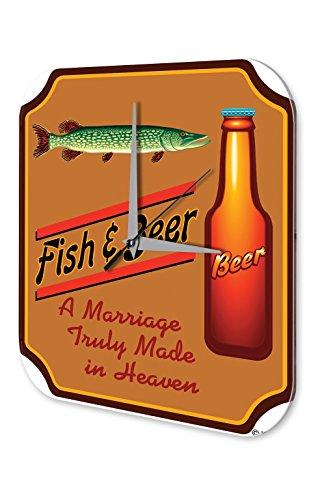 Wanduhr Nostalgie Fun Deko Bier und Fisch Acryl Wand - Fisch-wand-uhr