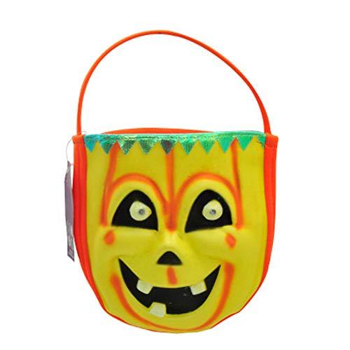 SJZC Halloween Süßigkeitstaschen Taschen Vlies Kinder Tote Nacht-Leuchtend,orange