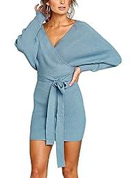 b26a7318cd8f Yieune V-Ausschnitt Kleid Damen Langarm Minikleid mit Gürtel Baumwolle  Gestrickt Partykleid Knielang