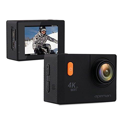 APEMAN Action Kamera WIFI sports cam 4K camera 20MP Ultra Full HD Helmkamera wasserdicht mit 2 verbesserten Batterien und kostenlose Accessoires