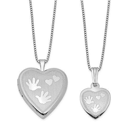 Sterling Silver Rhodium-plated Polished Satin Hand and Hearts Locket & Pend Back-box Pend