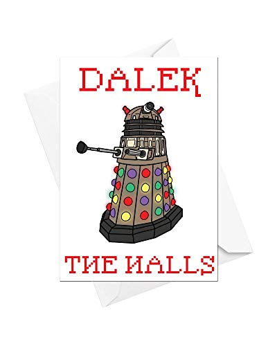 Superfans Kostüm - Funky NE Ltd Dalek The Halls - Doctor Who - Dalek - witzige Weihnachtskarte, tolle Geschenkidee - erhältlich als Einzelkarte oder als 5er-Packung, Einzelbett