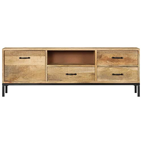 Tidyard TV-Schrank 130 x 30 x 45 cm Mango-Massivholz TV Cabinet Solid Wood TV Cabinet with 3 Drawers, 1 Compartment and 1 Door Vintage TV Lowboard Furniture
