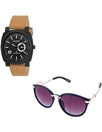 Magjons Fashion Black Analog Watch And Sunglassses Combo For Men And Women - B0735BJMYP