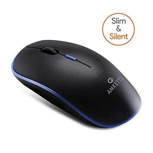 Amkette Hush Pro Air Slim and Silent Wireless Mouse with USB Receiver (Blue)