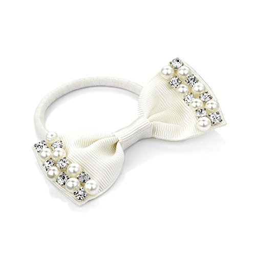 Cream Satin Pearl and Crystal Design Bow Motif Hair Elastic Band Ponytail Bobble by Pritties Accessories