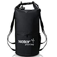 XBoze Waterproof Dry Bag Sack Outdoor Storage Dry Backpack with Front Zipper Pocket and Mesh Bag for Beach Swimming Camera Kayaking Camping Boating Hiking Rafting Fishing Travelling (Black, 10L)