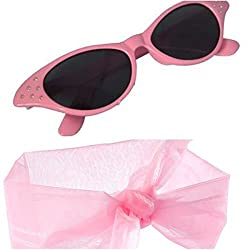 Ladies Pink Wig Scarf Glasses Set Fancy Dress 50's Grease Hen Nights Sandy 1950 from fashion accessory