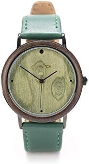 Ovi Watch, Verde Orologi in Legno Con Cinturino In Verde in Vera Pelle