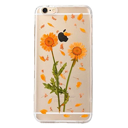 PowerQ Bunte Echt Blumen Probe Exemplar Serie Tasche TPU Hülle Etui Fall Case Cover < 3 pink flowers | für IPhone 6 6S IPhone6S IPhone6 >        Colorful Real Flower Specimen mit Staubstecker weiche Silikon 2 sunflower
