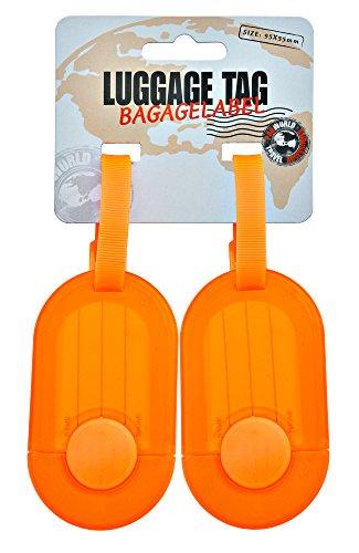 Fashion Gepäck 3 Stück (Kofferanhänger Gepäckanhänger Adressanhänger - 2 Stück - mit ausziehbar Namensschild - Adresse ist vor Schmutz, Näße und Feuchtigkeit geschützt - Farbe: Orange)