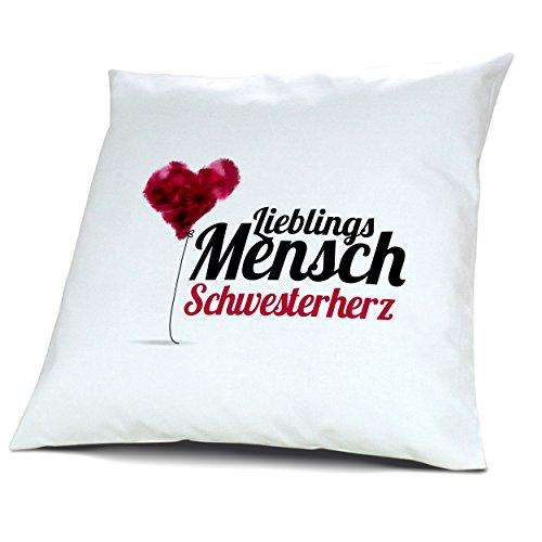 """Kopfkissen mit Namen Schwesterherz - Motiv """"Lieblingsmensch"""", 40 cm, 100% Baumwolle, Kuschelkissen, Liebeskissen, Namenskissen, Geschenkidee"""