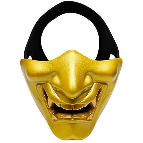 OOFAY Grimasse Dreidimensional Halloween-Maske/Halbes Gesicht Thermoplastisches Polyurethan Party Maske Horror Nachtclub/Tanzparty,Gold