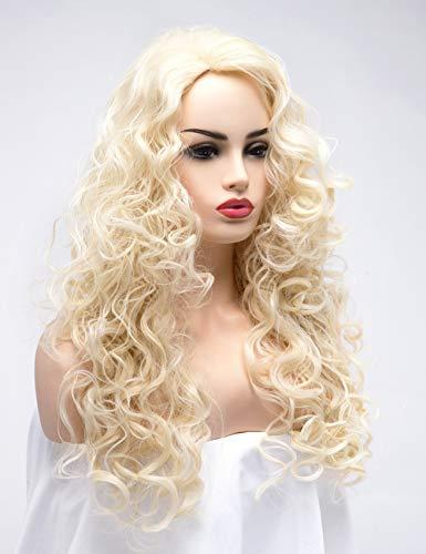 (bestung lang gewellt Full Head Perücken Damen Natürlich aussehendem Haar Cosplay Custume Party Perücke für Frauen Mädchen mit Ash Blonde Beige Farbe)