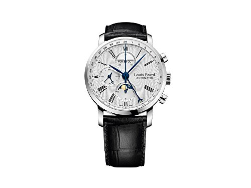 Montre Automatique Louis Erard Excellence, Argent, Chronographe, Phase Lunaire