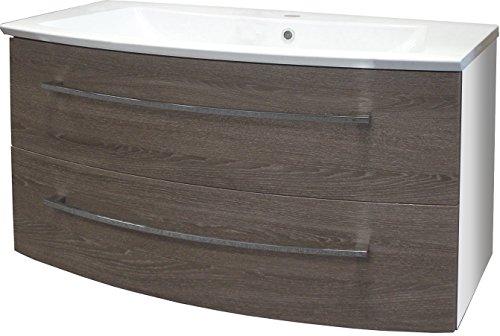 Fackelmann Waschtischunterschrank RONDO / Schrank zum Aufhängen / Badmöbel / Maße (BxHxT): ca. 99 x 60 x 43 cm / Korpus Farbe Weiß Hochglanz / Front Farbe dunkles Braun / Breite 99 cm / Schrank fürs Bad