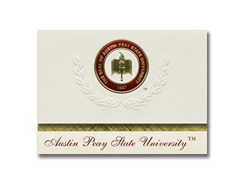 Signature Ankündigungen Austin PEAY Staatliche Universität Graduation Ankündigungen, platin Stil, Elite Pack 20mit Austin PEAY State u. Dichtung Folie
