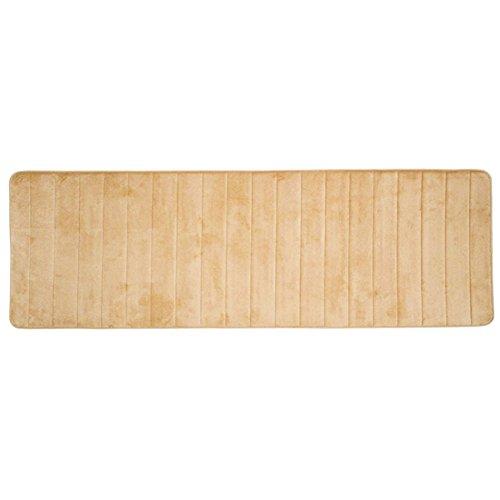 Passatoia bagno doccia tappeto lungo morbido Lavabile antiscivolo scendibagno in memory foam, cuscino 60x 160cm, Light Camel, Taglia libera