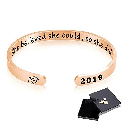 Top WHY 2019 inspirierende Abschluss-Geschenk-Stulpe-Armband, Edelstahl gravierte inspirierende Armband-Abschluss-Freundschafts-Geschenke für sie