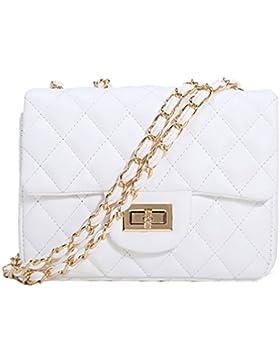 Melotfast Leder Damen Umhaengetasche Gesteppt Handtasche Schultertaschen Ketten Tasche mit Steppmuster und Kettenhenkel...