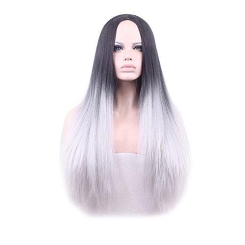 Preisvergleich Produktbild SMITHROAD Damen Perücke, Kunsthaar, glatt, seidig, klebfrei, hitzebeständig, Ombré Hair 2 Farbtöne, natürliches Schwarz / Grau