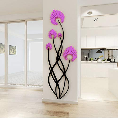 Blumen Acryl 3D Wandaufkleber Kreative Wohnzimmer Schlafzimmer Veranda Korridor Schuhschrank Selbstklebende Tv Dekoration, Lila, 47X120 Cm