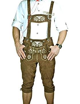 Trachten Herren Lederhose Kniebund Braun leather trousers Smartphone Tasche KNHA1