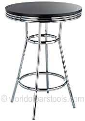 Detroit American Diner Style Retro Bar Table Black