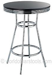 Detroit American Diner Style Retro Bar Table Black