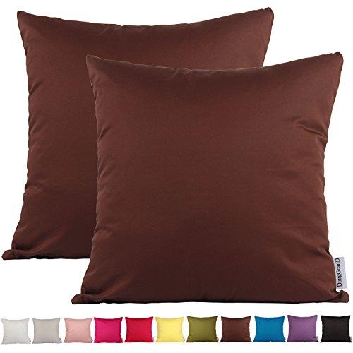 2 federe copricuscino decorative comoco®, a tinta unica, leggere, in cotone, per divano, disponibili in 15 colori e 7 dimensioni., dark brown, 30x45cm