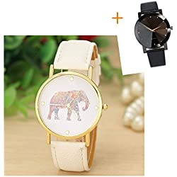 Mallom® Women Elephant Printing Pattern Weaved Leather Quartz Dial Watch
