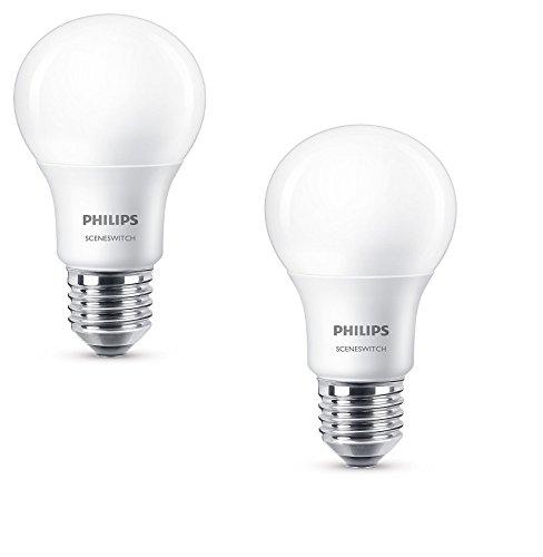 Preisvergleich Produktbild Philips 3-in-1 LED Lampe SceneSwitch ersetzt 60W, EEK A+, E27 Standardform, Dimmen ohne Dimmer 2-er Pack