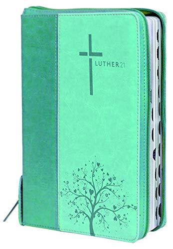 Luther21: Luther21 - Taschenausgabe - Kunstleder grün/helltürkis - Silberschnitt - Griffregister - Reißverschluss