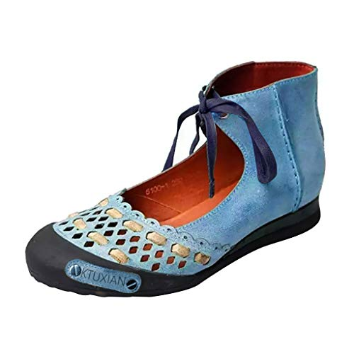 MuSheng Damen Schuhe Klassisch Wildleder Krawatte Penny Loafers Gemütlich Handgefertigt Mokassins Slippers Frauen runde Kappe beiläufiger Knöchelriemen Retro Hallow Summer Classic Sandals Penny-plattform Sandal