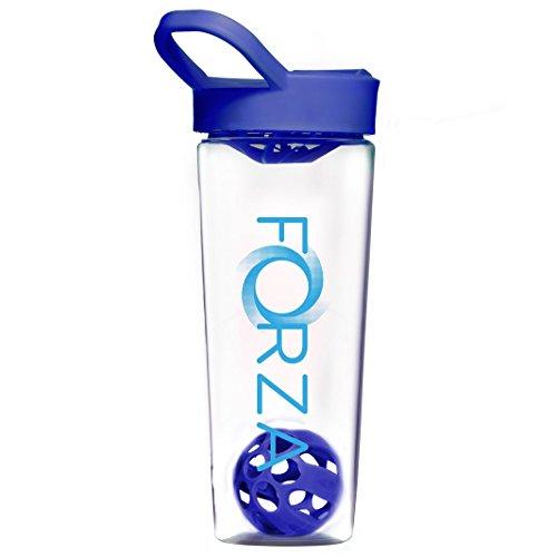 FORZA FITNESS Shaker Mixball - Avec boule de mixage pour substituts de repas, sachets hyperprotéinés - 700ml – Bleu