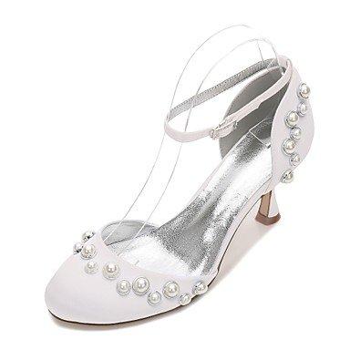Rtry Chaussures De Mariage Pour Femmes Satin Comfort Spring Summer Wedding & Amp; Robe De Soirée Bowknot Strass Heelivory Champagne Plat Bleu Rubis Us6 / Eu36 / Uk4 / Cn36