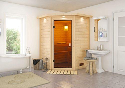 Sauna-Spar-Set: Karibu Scandic Sauna 38 mm Massiv Helsinki 1 Classic (Eckeinstieg) für niedrige...