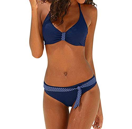 SuperSU Damen Große Größen Punkt Print Spleiß Zurück Frenulum Split Badeanzug,Frauen Sexy Bikini Zweiteilig Bauchweg,Bademode Push-Up Einteiliger Overall (Neugeborene Baby-kleidung Nike)