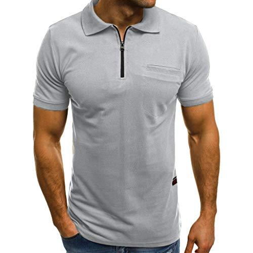Zolimx Herren Kurzarm Revers T-Shirt mit Reißverschluss Mode Persönlichkeit Männer Casual Slim Fit Taschen T Shirt Top Bluse