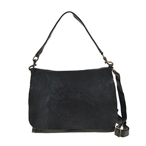 Preisvergleich Produktbild Campomaggi C3603 TVVLTC Faggio Donna Messenger Bag mit Canvas und Leder Schultertasche Vintage Design Grigio Grau