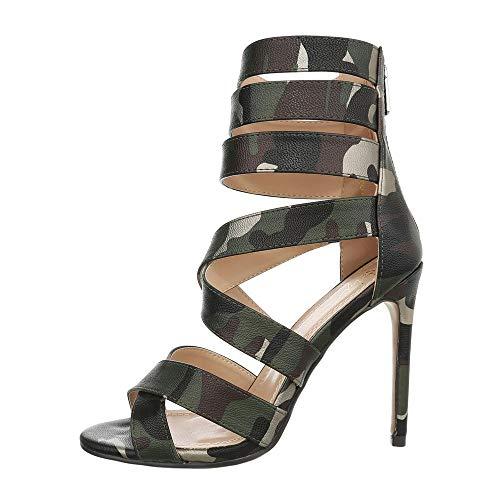 Ital-Design Damenschuhe Sandalen & Sandaletten High Heel Sandaletten Canvas Grün Camouflage Gr. 41 -