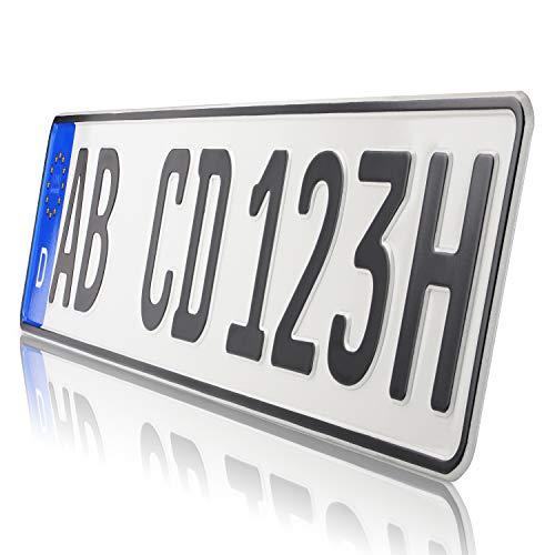 TEILE-24.EU Malinowski 1 x historische Kfz Kennzeichen Autoschilder H Kennzeichen für Oldtimer mit individueller Prägung nach Ihren Vorgaben + KFZ Schein Schutzhülle