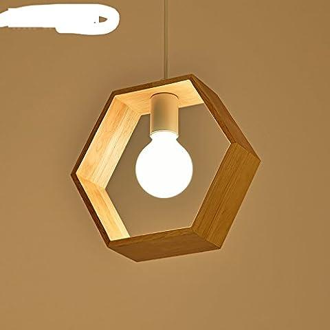 Lustre nordique en bois véritable Cuisine japonaise simple et moderne Étude chambre originale Art en bois Lampes créatives,UNE