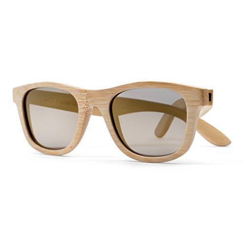 Tree People Herren Sonnenbrille gold Natural Frame, Gold Reflective Lens