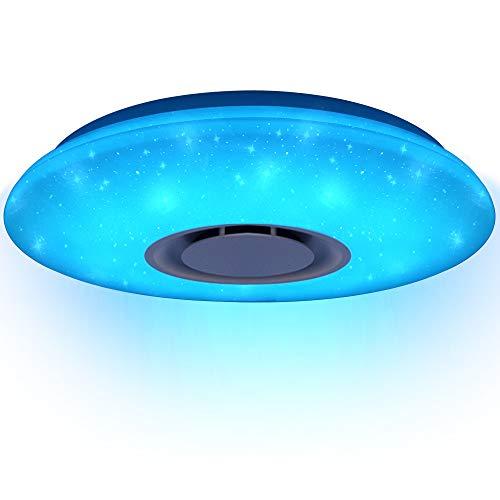 HOREVO 24W Sternenhimmel Deckenleuchte mit Fernbedienung Dimmbar Deckenlampe Kinderzimmer RGB, APP Bluetooth Lautsprecher Musik Deckenlampe, für Schlafzimmer Kinder Geschenk (CE-zertifiziert)