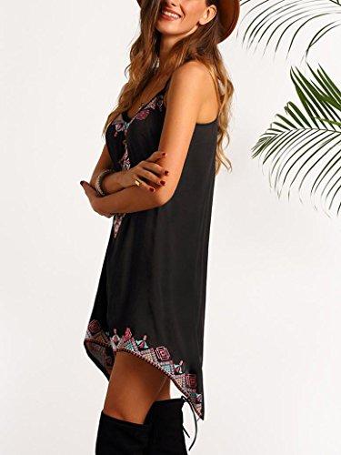 Transer ® Plage Boho Sexy Douceur Imprimé femmes sans manches Summer Party Short Mini robe noire (S-XL) Noir