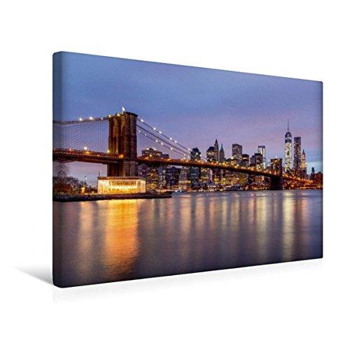 Calvendo Premium Textil-Leinwand 45 cm x 30 cm quer, Brooklyn Bridge - NYC | Wandbild, Bild auf Keilrahmen, Fertigbild auf echter Leinwand, Leinwanddruck Orte Orte - New River Gebäude