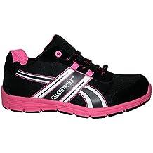 Groundwork Ladies Bases Puntera de ACERO Seguridad Trabajo Entrenador Zapatos de Encaje Ultra Ligera, Color Rosa, Talla 39.5