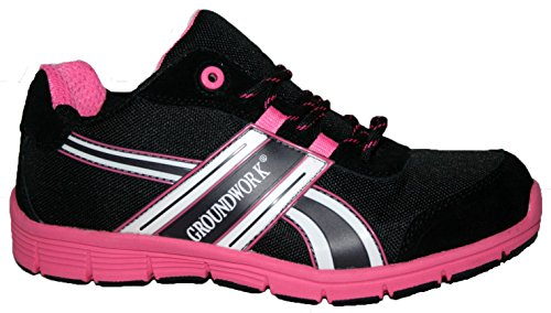 LADIES GROUNDWORK STEEL TOE CAP SAFTEY ULTRA LIGHT WEIGHT LACE WORK TRAINER SHOES (UK6, pink/black)