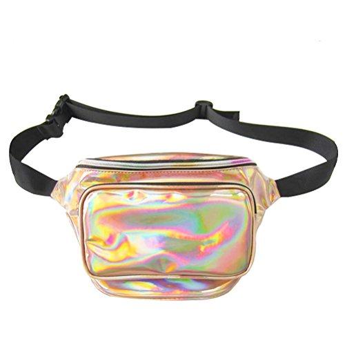 Vosarea Frauen Hologramm Gürteltasche wasserdicht glänzend Neon Fanny Brust Pack (Champaign Gold)